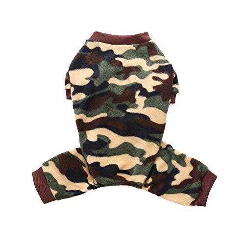 personukXD Pijama para Perro, Terciopelo de Camuflaje, cálido, de una Sola Pieza, Cuatro Pantalones