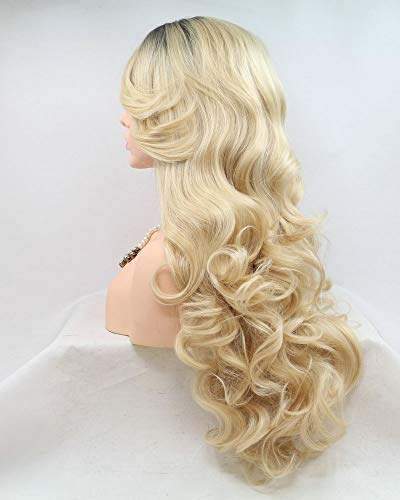 High Temperature Natural Hairline Side Part 2T Light Blonde Ombre Dark Roots Body Wave Long Synthetic Hair Handmade Lace Front Wigs for Drag Queen Replacement Women's Wigs