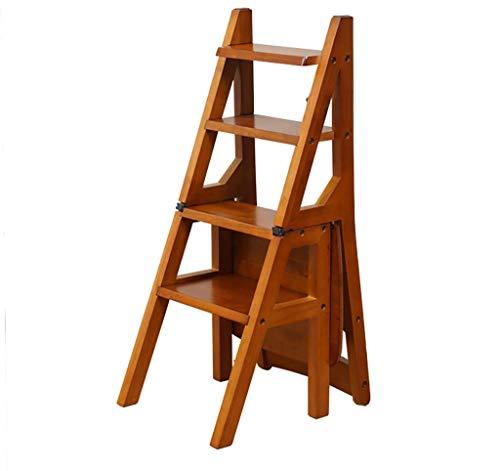 HLL Taburete de Escalera, Silla de Escalera Plegable Combinación Completa de Madera Iza Taburete de 4 Escalones Ascendente Sillón Multifuncional, Taburete de Escalera Plegable de 90 cm de Altura,Re