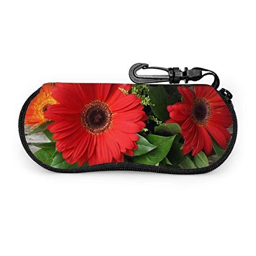 Smile Gerbera Gafas de sol con hebilla de bloqueo Bolsa suave Tela de buceo ultraligera Estuche para gafas con cremallera