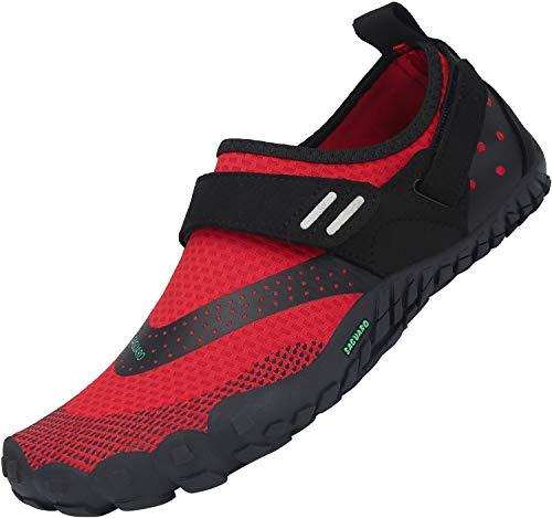 SAGUARO Secado Rápido Minimalista Zapatillas de Gimnasia Hombre Mujer Trekking Playa Ligera Antideslizante Zapatos de Surf Resistente al Desgaste Zapatilla de Trail Running, Rojo 39