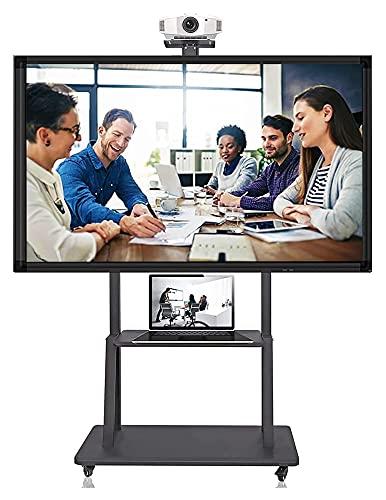 TabloKanvas Soporte de TV para TV de 55 pulgadas + con 2 ruedas de almacenamiento enrollables/carrito de TV móvil en altura ajustable (color negro)