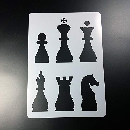 Schablone Schach Figuren Bauer König Dame Läufer Turm Pferd - BC05