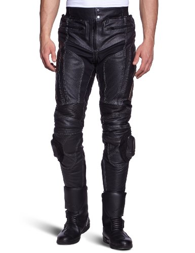 Protectwear Motocicleta - Pantalones de cuero negro WMT-401 Tamaño 50 / M