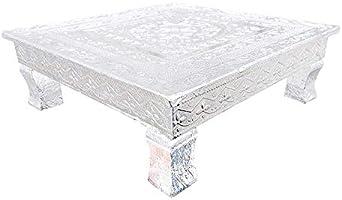 Fancy Aluminium Designed Beautiful Wooden Foil Designer Rajwadi Chowki for Religious Purpose (Bajot Color, Silver, Size...