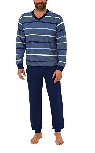 Eleganter Herren Frottee Pyjama Schlafanzug mit Bündchen in toller Streifenoptik - 62055, Größe2:48, Farbe:grün