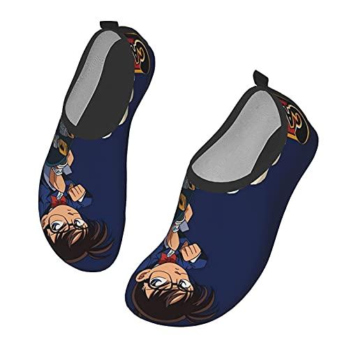 NHUXAYH Detective Conan - Zapatos de agua para hombre y mujer, transpirables y antideslizantes, plantilla gruesa, juego de playa, natación, surf, vela, secado rápido, color Negro, talla 36/38 EU