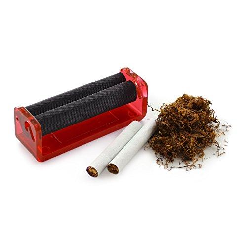 Ganzoo Zigarettendrehmaschine für Drehtabak, Zigarettenroller, Zigarettenwickler, Zigarettendreher, Drehzigaretten Wickler, Dreher, Tabak, Farbe rot, Marke