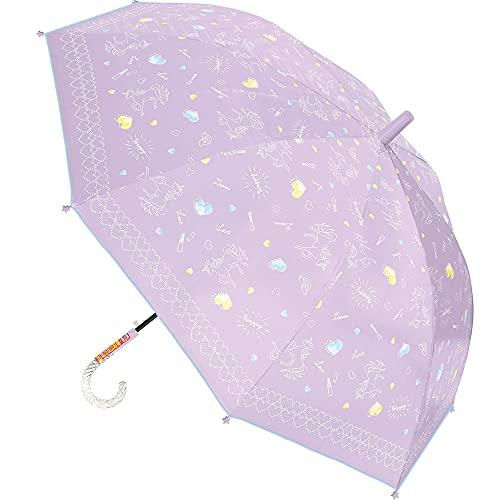 子供日傘 晴雨兼用 長傘 ジャンプ傘 親骨55cm 通学 UVカット 熱中症対策 ユニコーン ki-117a (パープル)