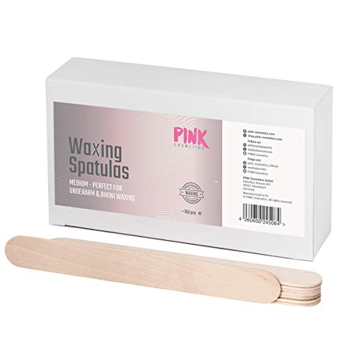 Spatole in legno per ceretta di medie dimensioni 100 pezzi - Per l'applicazione pulita di cera o pasta zuccherina - Ideale per la depilazione su ascelle, guance, bikini brasiliano