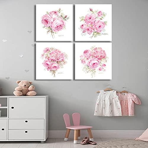 Decoración de pared Póster de rosas y hortensias Cuadro decorativo Pinturas de arte moderno para...
