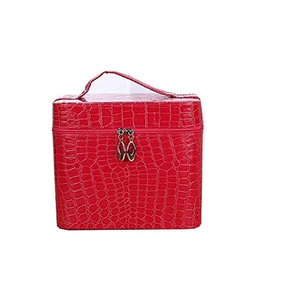誰のパニックストッキング化粧箱、赤、黒ワニ革ポータブル化粧品バッグ、ポータブルポータブル旅行化粧品ケース、美容ネイルジュエリー収納ボックス (Color : Red)