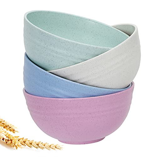 24 Oz Cereal Bowls - Unbreakable Wheat straw Bowls For Kitchen-Eco Friendly Durable Pack Of 4 Lightweight Bowl Set,For Cereal, Rice, Noodle, Soup Bowls