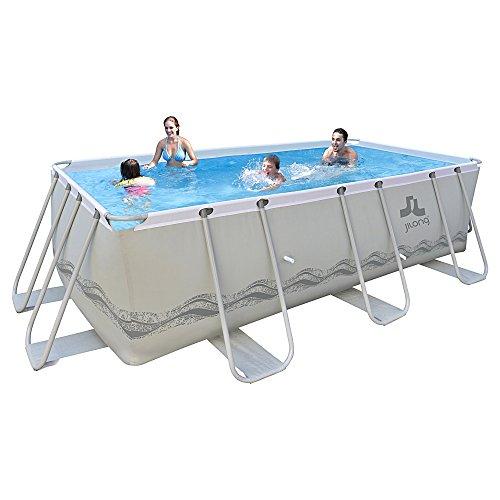 Jilong Passaat Swimming Pool Set+ 400x207x122 cm mit rechteck Becken Sandfilterpumpe Leiter, Stahlrohr Schwimmbecken Stahlrahmen Schwimmbad Familienpool für Garten und Terasse