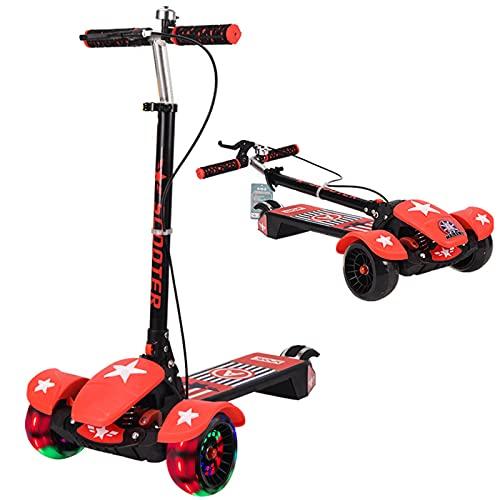 PTHZ Scooter Infantil, Scooter Plegable de 3 Ruedas, con Ruedas de emisión de luz LED y chasis de música 5 Altura Ajustable y dirección de Gravedad, Adecuado para niños de 3 a 16 años,Rojo