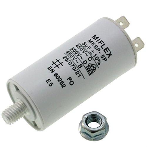Condensador de Arranque para Motor Miflex, 5 μF, 450 V, 35 x 58 mm, Conector M8