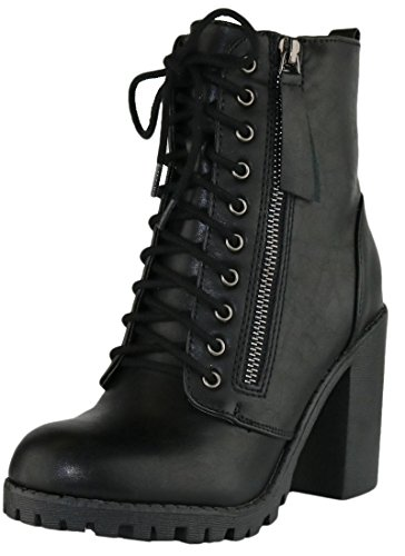Cambridge Select Women's Closed Round Toe Lace-Up Chunky Heel Moto Combat Boot,8,Black Pu