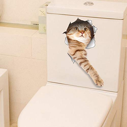 GDFEGFREDG Muursticker 3D Cats Muursticker Badkamer Decoratie PVC Muursticker DIY Hot Sale Toliet Sticker Koelkast Wasmachine Sticker C