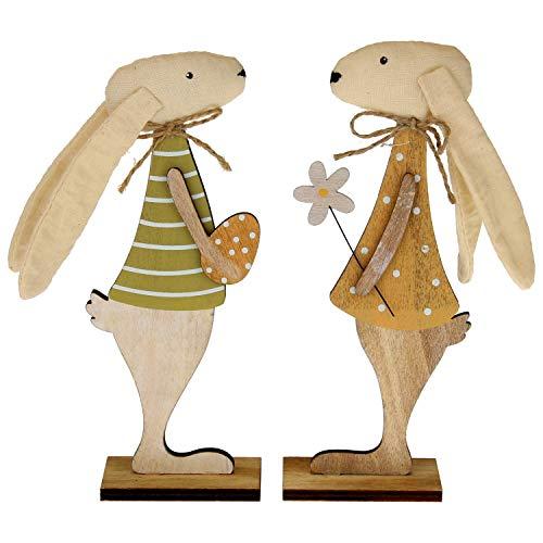 MACOSA EX233692 - Juego de 2 conejos decorativos de madera y plástico, conejo de Pascua, decoración de mesa