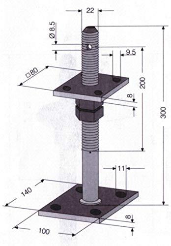 HBL 405724 Pfostenträger mit Dorn zum Aufschrauben - nach der Montage höhenverstellbar