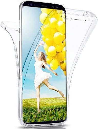 moex Double Hülle für Samsung Galaxy S8 Hülle Silikon Transparent, 360 Grad Full Body R&um-Schutz, Komplett Schutzhülle beidseitig, Handyhülle vorne & hinten - Klar