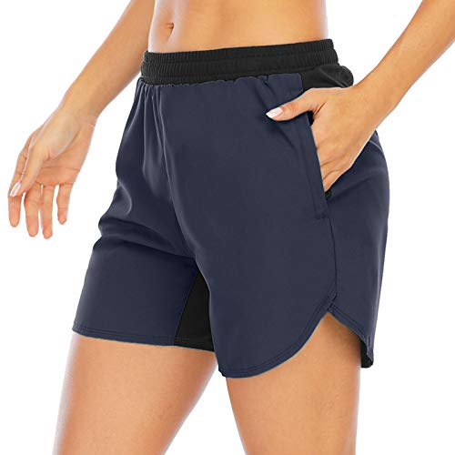 Aonour Womens Workout Shorts with Liner Elastic Waist Hiking Training Quick Dry Shorts Zipper Pockets Navy M