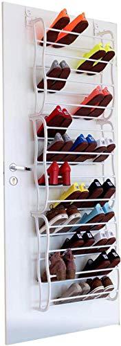 HTGW Zapatero de 12 Niveles sobre la puerta-36 Pares de Acabado Organizador de Zapatos-Tubos de Metal-No se requieren Herramientas-Fácil Montaje