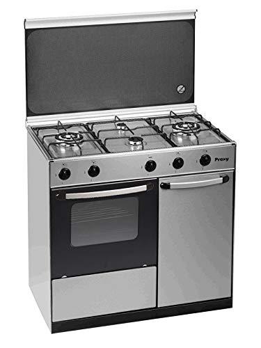Cocina portabombona 90 cm de ancho con horno PROXY, color inox, 4 fuegos (incluye 2 Triples Fuegos) y horno con grill a gas (butano o natural).