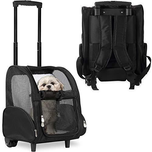 Kopeks Deluxe-Rucksack/Reisetasche für Haustiere mit Doppelrollen, Large, schwarz