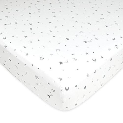 TL Care Printed 100% Cotton Jersey Knit Fitted Crib Sheet for Standard Crib and Toddler Mattresses, Gray Stars and Moons, for Boys and Girls