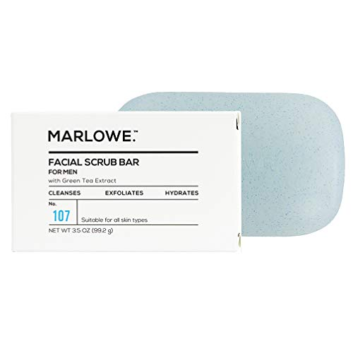 MARLOWE. No. 107 Men's Facial Scrub Soap 3.5 oz | Best Face Exfoliating Bar for Men | Made with Jojoba, Shea Butter, Willow Bark Extracts | Natural Ingredients | Fresh Scent