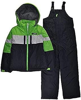 LONDON FOG Big Boys  2-Piece Colorblock Snow Bib and Jacket Snowsuit Green 10/12