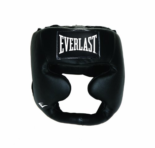 Everlast Erwachsene Boxartikel 350 Ce Leather Full Protection Headgear, Rot, S/M