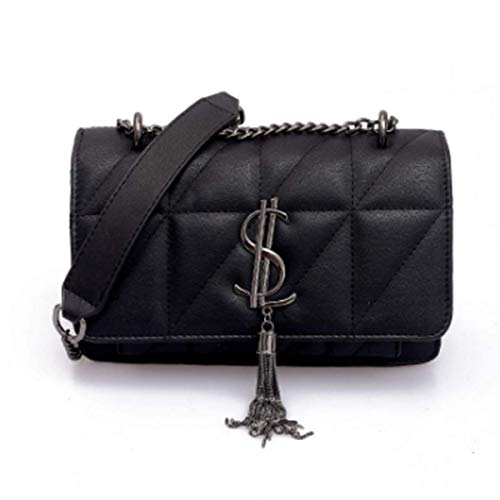Womens Shoulder Pocket Necklace Quilted Purse PU Leather Women Care negro Negro Talla:22.5 * 8 * 15cm