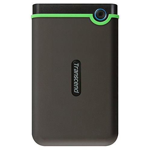 Transcend TS1TSJ25M3S 1TB stabile, tragbare, externe USB3.1 Festplatte (HDD) kompakt, stoßunempfindlich und leicht in grau/grün mit Backup-Funktion (Datensicherung per Knopfdruck), Plug und Play