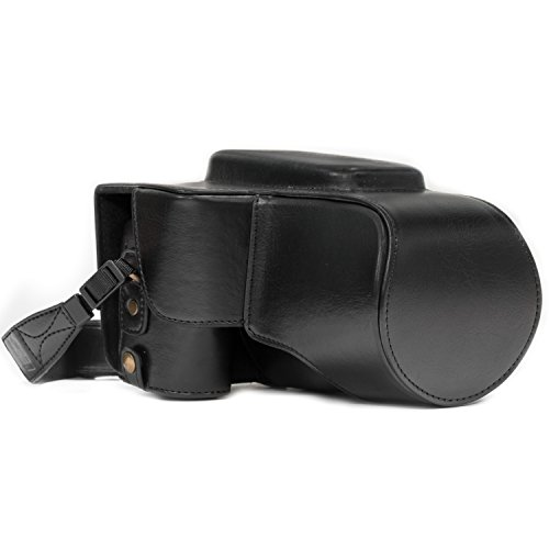MegaGear Nikon Coolpix P900, P900S Ever Ready Leather Camera Case and Strap, with Battery Access - Black - MG978