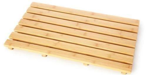 Alfombrilla de baño rectangular ovalada de madera de pato de bambú
