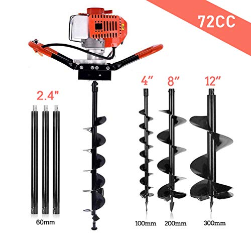 "YiiYYaa 72cc 2 Stroke Post Hole Digger, 3KW Petrol Gas Powered Earth Auger with 3 Bits(4"", 8"", 12"") and 3 Extension Rods"