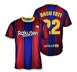 Camiseta Replica FC. Barcelona 1ª EQ Temporada 2020-21 - Producto con Licencia - Dorsal 22 Ansu Fati - 100% Poliéster - Talla M