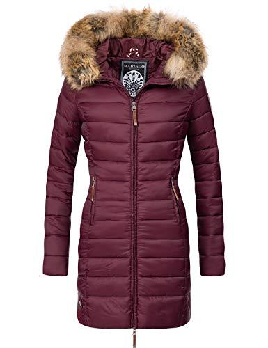 Marikoo Damen Winter-Mantel Steppmantel Rose Weinrot Gr. XL