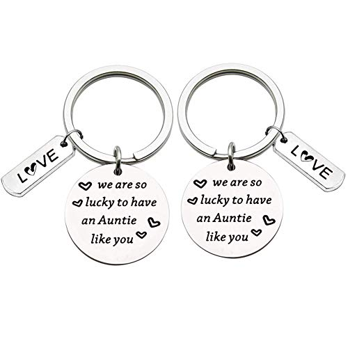 Aunt Keyring Aunt Gifts from Nephew Niece Stainless Steel Key Chain We are So Lucky to Have an...