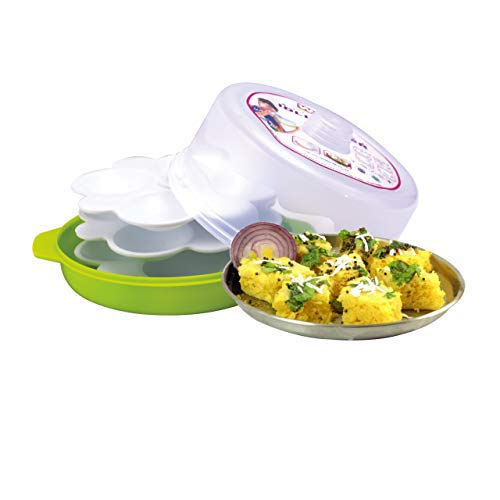 Wonder Healthy Idli Dhokla Maker Combo for Microwave, Big Idli Steamer, 1 Pc, Green Color, Made in India