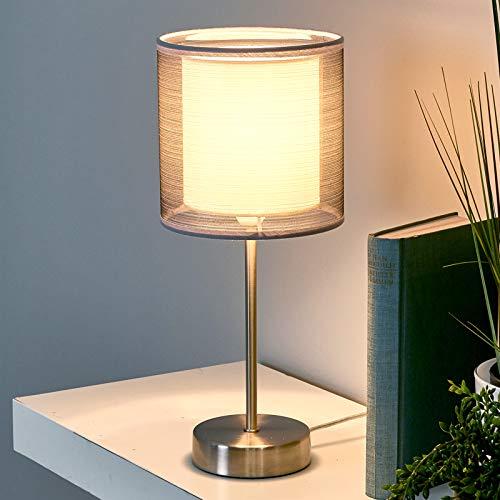 Lindby Tischlampe 'Nica' (Modern) in Alu aus Textil u.a. für Wohnzimmer & Esszimmer (1 flammig, E14, A++) - Tischleuchte, Schreibtischlampe, Nachttischlampe, Wohnzimmerlampe