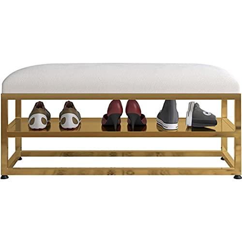SFSGH Banco de Hierro Forjado Dorado nórdico Organizador de Zapatero Taburete para Cambiar Zapatos para Uso doméstico Tienda de Ropa Zapatero con Cojines Otomano Multifuncional (Color: B