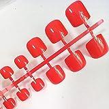 Uñas postizas artificiales de color rosa brillante de 24 Uds., Uñas postizas brillantes para dama para diseño, herramienta de manicura de cubierta completa, arte de uñas para pies