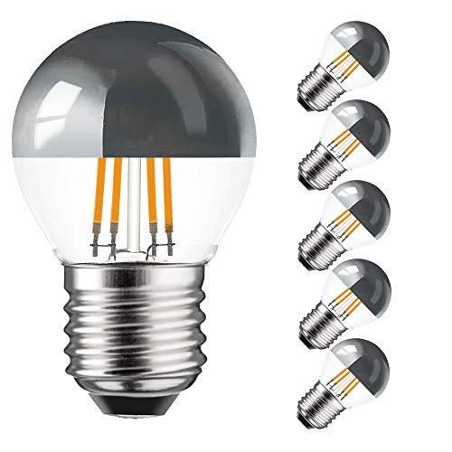 5 x LED Filament Kopfspiegel Tropfen 4W = 40W E27 KVS warmweiß retrofit Nostalgie (4 Watt 2700K silber, 5 Stück)