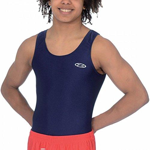 Die Zone Jungen ärmelloses Nylon/Lycra Gymnastik Trikot Z119 (Marinenblau 26 (5-6 Jahre))