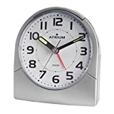 Atrium A218-19 - Reloj despertador clásico con luz, manecillas luminiscentes, analógico, cuarzo, sin tictac, color gris plateado