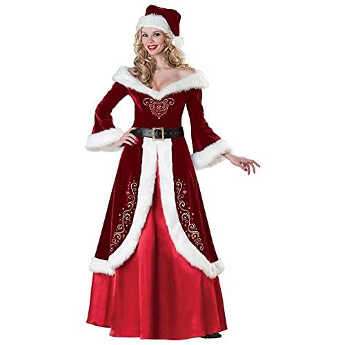TianWlio Damen Weihnachten Kostüm Miss Santa Cosplay Kostüm Kleid Weihnachtsmantel Lang Samt Maxikleid mit Kapuze und Gürgel