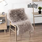 AYAAN Sheepskin Washable Carpet Warm Hairy Seat Pad, Fluffy Rugs, Faux Fur Mats for Floor, Chairs, Sofas, Living Room, Bedroom Home Decor (40 x 60Cm) (Camel) (Slaty)